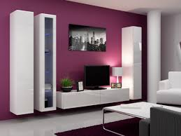 living room modern led wall decor living room with round shape cream coffee table and