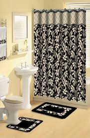 home dynamix boutique deluxe shower curtain and bath rug set bou 12 leaves black boutique deluxe collection curtain mat towel set shower curtain