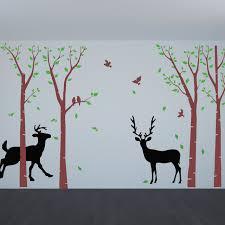 birch tree wall decals flying birds