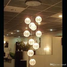 pendant lamps led aluminium glass ball lamp stair bar lighting long spiral staircase hanging lights ceiling
