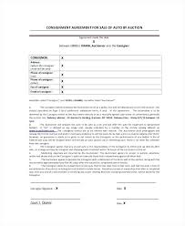 consignment form for cars consignment form template