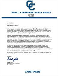 6 30 2020 Statement from Wesley Holt | Connally Independent School District