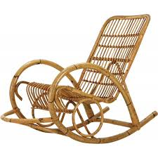 mid century rattan rocking chair 1960s