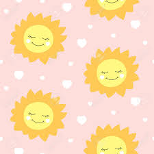 Sun Pattern Beauteous Cute Baby Sun Pattern Vector Seamless Girl Print With Happy