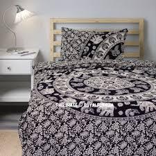 twin black white elephant mandala bedding duvet cover with one pillow sham royalfurnish com