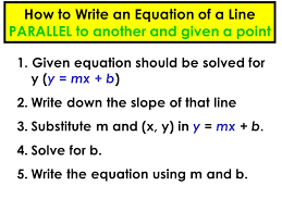 how to write an equation of a line parallel to another and given a point
