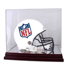 mahogany football helmet display case with nfl team logo us markerboard