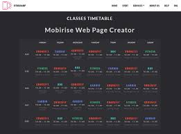 Time Table Creator Mobirise Web Page Creator Classes Timetable Of Fitnessamp Theme