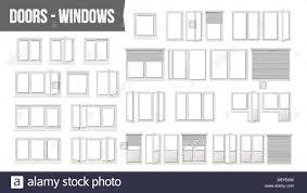 Kunststoff Pvc Fenster Türen Ein Vektor Verschiedene Typen
