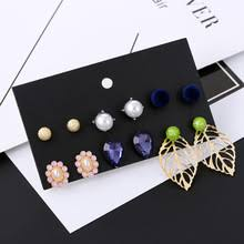 6 Pairs/Set 2019 Fashion Round White Pearl Stud Earrings For ...