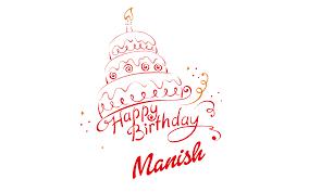 Manish Happy Birthday Vector Cake Name Png