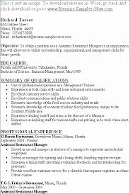 Restaurant Manager Resume Format Awesome Assistant Manager Duties