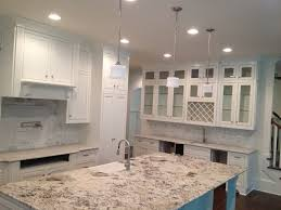 recessed lighting design ideas with leathered granite plus white ceiling for modern kitchen decoration