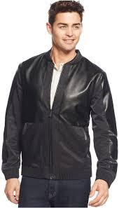 black leather er jackets calvin klein mixed media er jacket