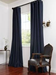 Navy Blue Curtains perfect for an all white room.. dining room maybe ...