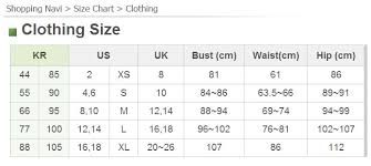 Korean Size Chart Pants What To Pack Heart Seoul