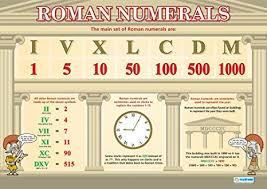 Roman Number 1 To 50 Chart Roman Numerals Maths Charts Gloss Paper Measuring 594 Mm X 850 Mm A1 Math Charts For The Classroom Education Posters By Daydream Education