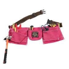 9 pocket tool belt pouch heavy duty pink suede leather fits hammer and nails com