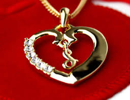 Details About Name Necklace Initial Love Heart Pendant Letter S 18k Gold Plated Birthday Gifts