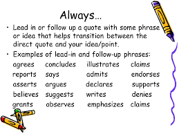 Lead Ins For Quotes Unique Lead Ins For Quotes Extraordinary Quote Essays Introducing Quotes In