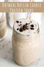 with 17 grams of protein this oatmeal raisin cookie protein shake is the perfect post workout shake not to mention it tastes like a decadent treat