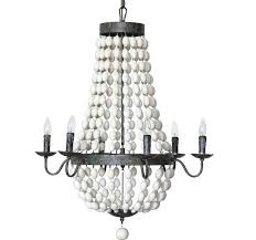 iron chandelier with wood beads and grey valencia