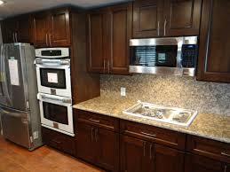 Red Oak Wood Nutmeg Prestige Door Unfinished Discount Kitchen Cabinets  Backsplash Mirror Tile Stainless Teel Ceramic