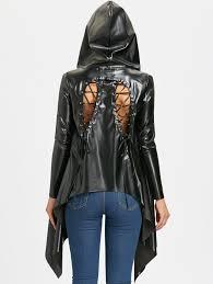 back lace up asymmetric pu leather jacket black xl