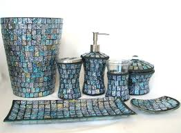 Mesmerizing 7PC BLUE GLASS MOSAIC SOAP DISPENSER DISH TOOTHBRUSH