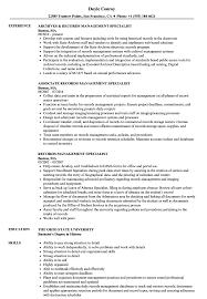 Sample Management Specialist Resume Records Management Resumes Magdalene Project Org