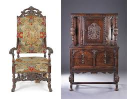 furniture style guide. Left: Jacobean Style Needlepoint Armchair, Sold Via Pook And For $213 On September 13, 2012. Right: Cabinet, Offered Sloans \u0026 Kenyon Furniture Guide I