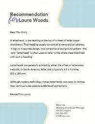 Pattern Of Reference Letter Online Recommendation Letter Letterhead Template Fotor