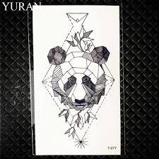 Geometric Wolf Temporary Tattoo Women Deer Elk Horm Small Fake Pencil Sketch Tattoo Arm Sticker Panda Men Chest Sexy Tatoo Moose