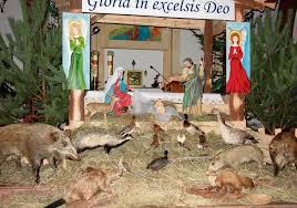 Łomża: Kościół pw. św. Andrzeja Boboli. Małego Jezuska odwiedziły...  wypchane zwierzęta | Gazeta Współczesna