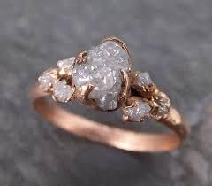 alternative to wedding ring. raw diamond rose gold engagement ring rough multi stone wedding byangeline c0114 alternative to d