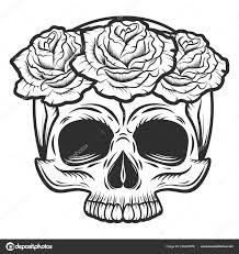 Vintage Lidská Lebka S Květy Růže Tetování Koncept Izolovaných