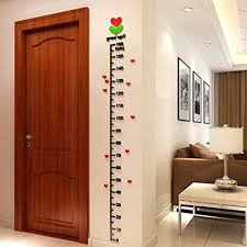 Diy Height Chart Transer Kid Room Deco Height Ruler Measure Chart Growth Chart Diy 3d Acrylic Crystal Wall Stickers Black
