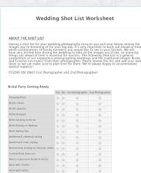 Wedding Photography Checklist Template Wedding Shot List Worksheet Form Template Jotform