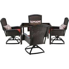 hanover strathmere 5 piece all weather wicker square patio dining set with four swivel