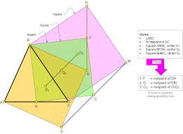 math education geometry problem triangle median three  geometry problem 870 triangle median three squares centers vertices collinear