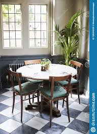 Tables Laid For Service In Empty Restaurant Stock Image Image Of