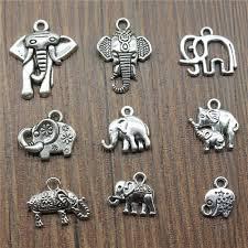 15pcs lot elephant charms antique silver color cute elephant charms pendants for bracelets small elephant
