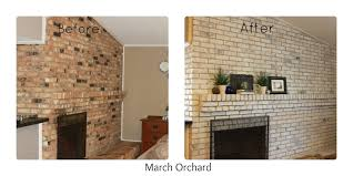 How To Whitewash Brick March Orchard How To White Wash A Brick Fireplace