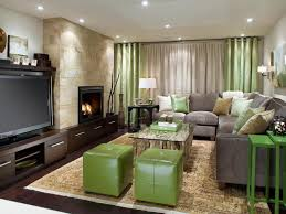 Interior:Endearing Basement Living Room Ideas With Exposed Stone Wall And  Brown Leather Sofa Also