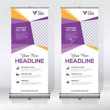 Roll Up Banner Design Template Abstract Background Pull Up