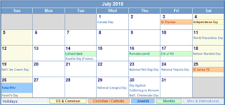 Free Download July 2015 Calendar With Holidays Printable