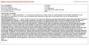 School Psychologist Job Cover Letter