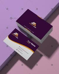Simple Business Card Design Template Purple And White Color Simple Business Card Design Template Uxoui