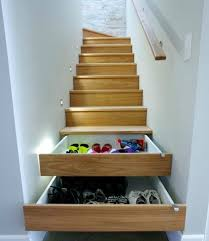 Shoe storage built into stairs