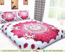 indian mandala quilt duvet cover set sun pattern in hot pink zoom